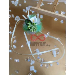 Сватбена бутониера за ръка - гривна Кала грийн