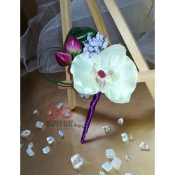 Сватбена бутониера за ревер Орхидея Кристи