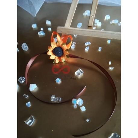 Сватбена бутониера за ръка - гривна Слънчоглед мини