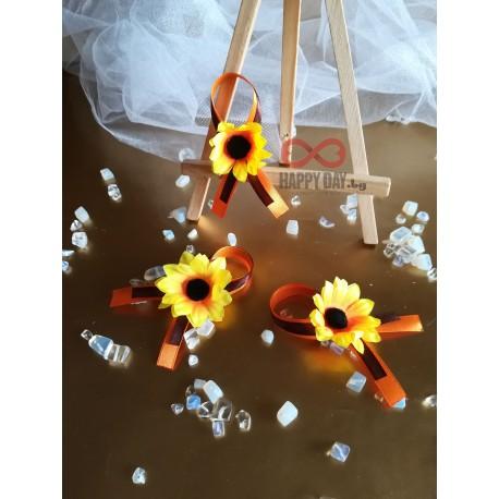 Сватбена бутониера за ревер Слънчоглед мини
