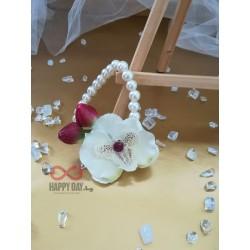 Сватбена бутониера за ръка гривна Орхидея Кристи