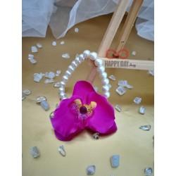Сватбена бутониера за ръка гривна Орхидея перла
